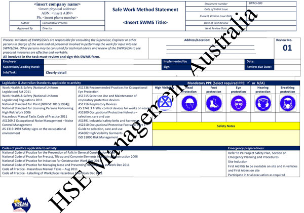 Safe Work Method Statement Sample  Method Statements Template